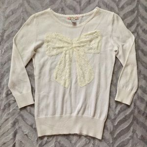 Sweater with lace bow detail